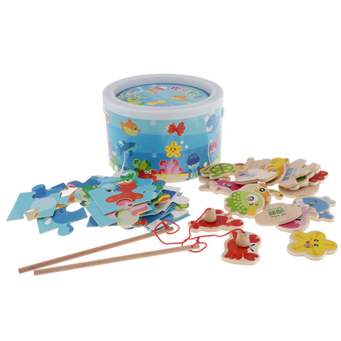 Image of Magnetic Fishing Game Toy, 22 Wooden Fish Animal Model & 2 poles with Ocean Jigsaw Puzzle Board Educational Pretend Play Toy Toddler Gift