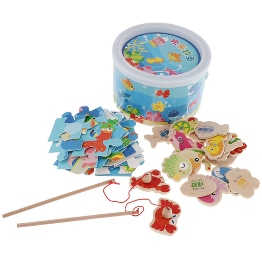 Magnetic Fishing Game Toy, 22 Wooden Fish Animal Model & 2 poles with Ocean Jigsaw Puzzle Board Educational Pretend Play Toy Toddler Gift