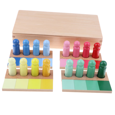 Image of Montessori Sensorial Material Toy - Wooden Gradient Color Matching Kids Preschool Kindergarten Education