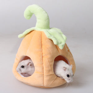 Lovely Warm Small Cats Dogs Pet Nest Hamster Bed Hammock Pumpkin Patch Shape