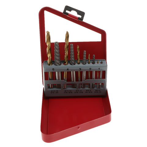 Image of 10x Left Hand Drill Bit Broken Bolt Damaged Screw Extractor and Twist Drill Bits Stud Removal Tools Set