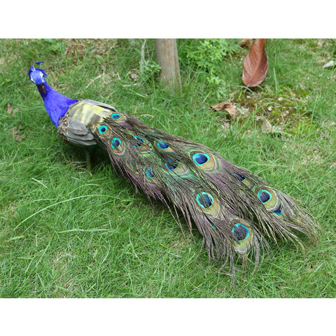 Image of Fake Artificial Peacock Bird Feathered Realistic Garden Home Decor Ornaments