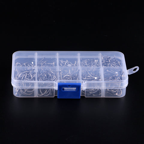 Image of 500pcs High Carbon Steel Fishing Hooks Fly Jig Barbed Hook with Hole 6-15#