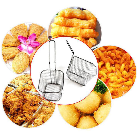 Image of French Fries Basket Metal Wire Food Colander Sifter Fine Mesh Cookware