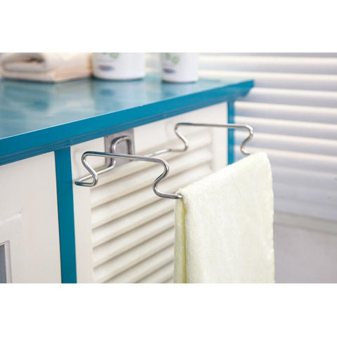 Image of Over Cabinet Door Hanger Cupboard Towel Garbage Bag Holder Hook Rack Storage