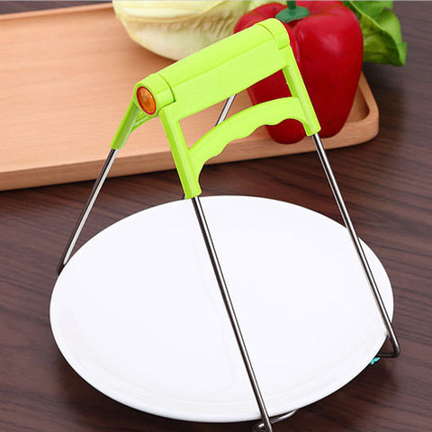 Image of Stainless Steel Bowl Clip Taken Against Hot Dishes Clamp Lifting Retriever Tongs Carrier for Hot Kitchenware, Instant Pots Crockery Holder Clamp
