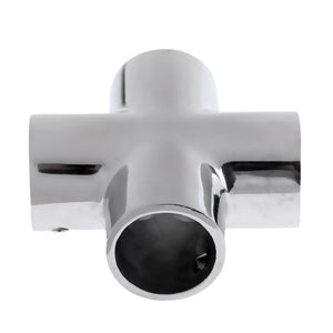 "Premium 4 Way 90 Degree 22mm 7/8"" Pipe Yacht Boat Hand Rail Fitting - Marine Grade Silver 316 Stainless Steel"