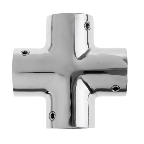 "Image of Premium 4 Way 90 Degree 22mm 7/8"" Pipe Yacht Boat Hand Rail Fitting - Marine Grade Silver 316 Stainless Steel"