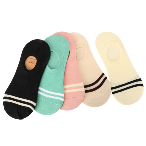 Image of 5 Pairs Girls Casual Cotton Loafer Non-Slip Invisible Low Cut No Show Socks