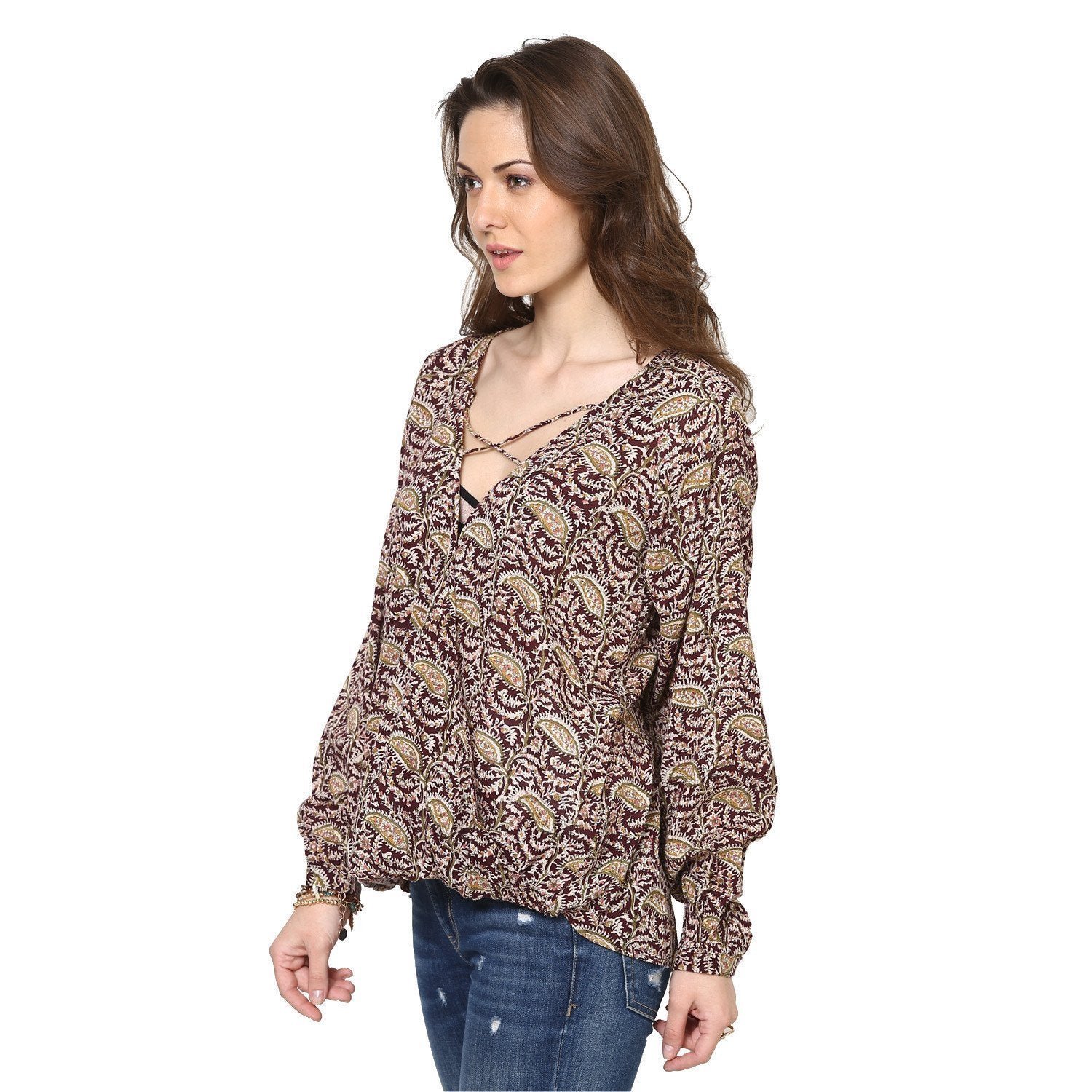 Kristina Peasant Wrap Over Top with  Criss Cross Neck