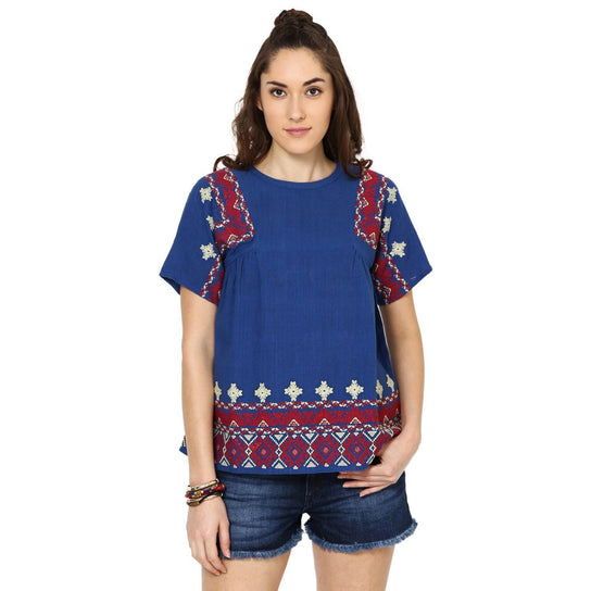 winti Blue Linen Embroidered Top