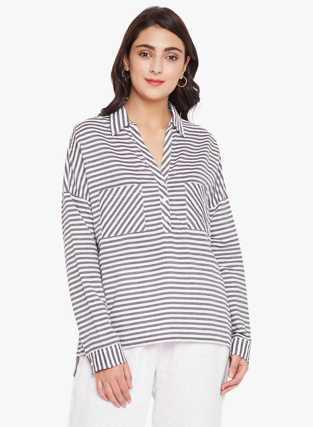 Young Stripe High Low Shirt
