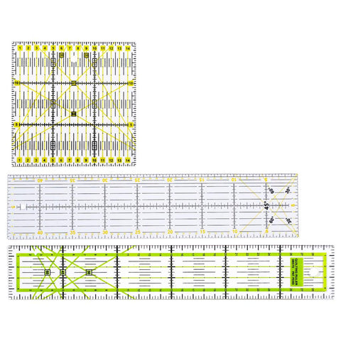 3 Pieces Square Rectangle Clear Plastic Quilt Quilting Ruler Patchwork Sewing Ruler for Crafts