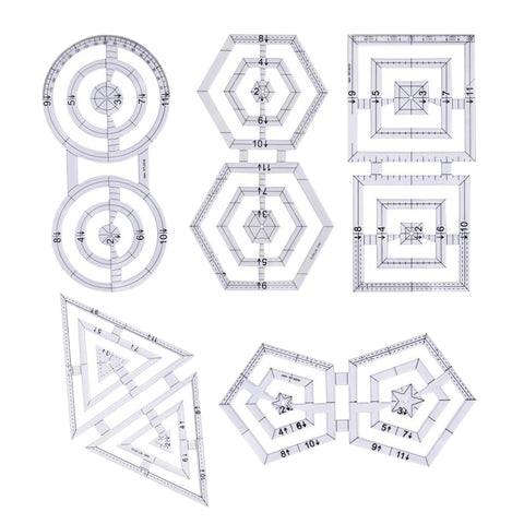 5 Pieces Creative Acrylic Twin Ruler Patchwork Quilting Ruler Double Hexagon Square Triangle Pentagon Circle Templates