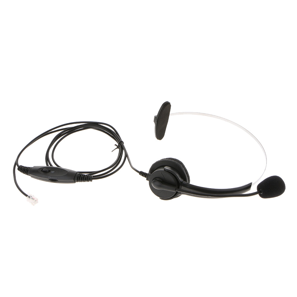 Professional Telephone Headset Clear Voice Noise Cancellation Customer Service Wired Head-Mounted RJ9 Headphone Jack with Volume Mute for Call Center