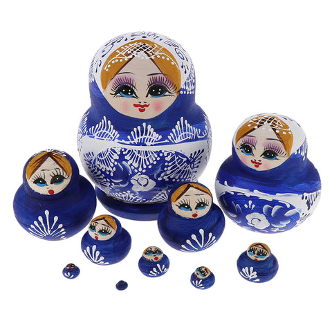 Classic Blue Russian Nesting Doll Babushka Matryoshka Stacking Dolls Set 10 Pieces Xmas Festival Gift Christmas Decorations