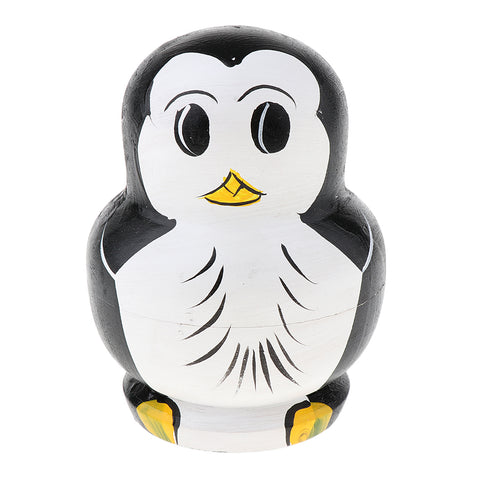 Christmas Decoration Gift – Cartoon Penguin Printed Russian Matryoshka Babushka Dolls - Handcrafts 10 Pieces Kit