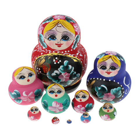 10 Pieces Hand Painted Flower Girl Russian Nesting Doll Wooden Babushka Matryoshka Stacking Dolls Home Office Decor