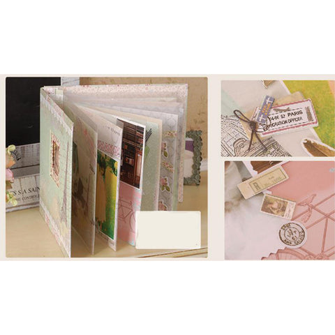 10 Pages Slip In Memory Scrapbook Photo Album DIY Handmade Anniversary Scrapbook with Colorful Decoration Paper