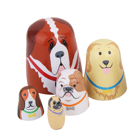 5pcs Set Russian Wooden Nesting Dolls Dogs Matryoshka Hand Painted Gift