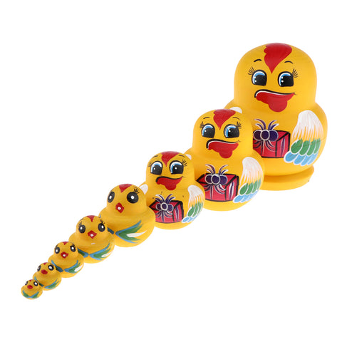 10 Pieces Wooden Hand Painted Russian Nesting Dolls Decoration Accessory