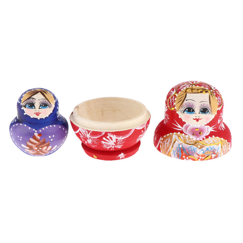 10 Pieces Wooden Hand Painted Russian Nesting Dolls Table Decoration