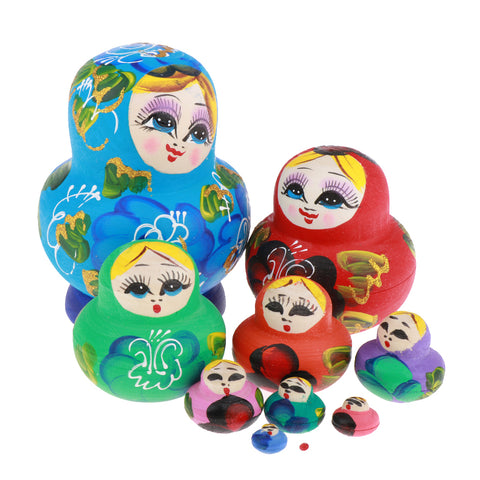 10 Pieces Russian Nesting Wooden Stacking Babushka Dolls Christmas a Gift
