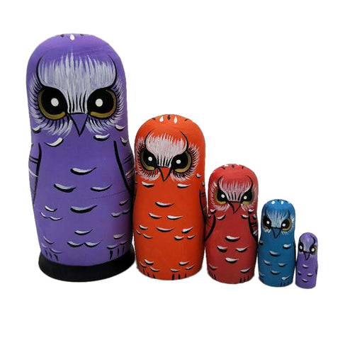 5pieces Hand Painted Wooden Russian Nesting Doll Babushka Cartoon Owl Decor