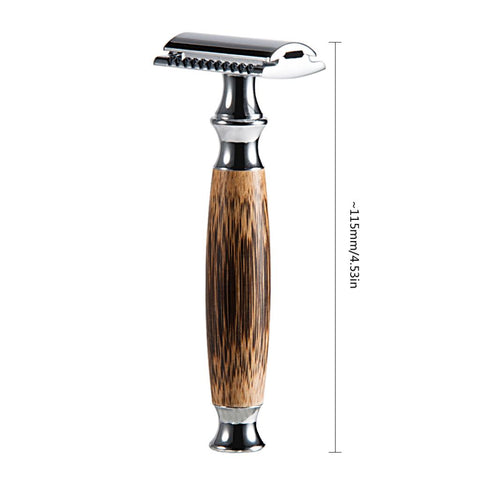 Men Double Edge Safety Shaving Razors Moustache Grooming Tool Bamboo Handle