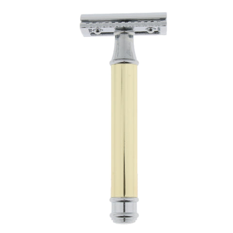 Image of Men Long Handle Double Edge Safety Shaving Razor Beard Grooming Tool Gold