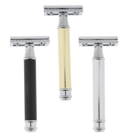 Image of Men Long Handle Double Edge Safety Shaving Razor Beard Grooming Tool Sliver