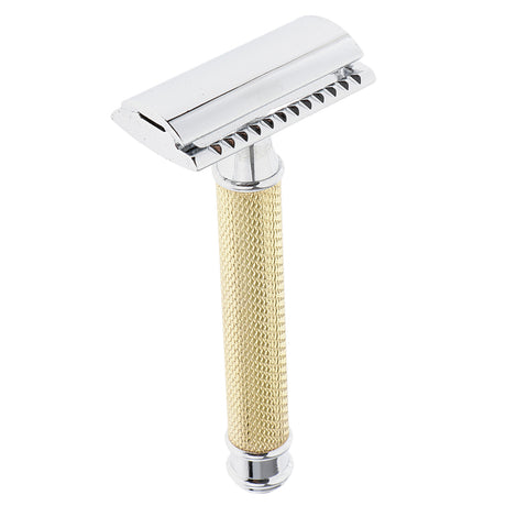 Classic Manual Safety Razors Double Edge Shaver for Men Daily Shaving Golden