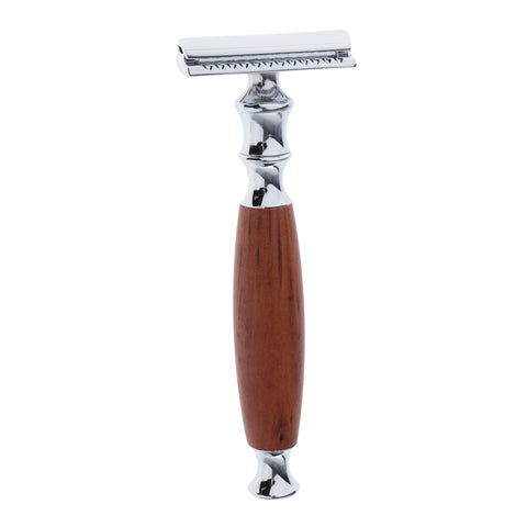 Wood Handle Double Edge Safety Shaving Razors Moustache Grooming Tool Brown