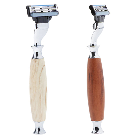Bamboo Handle Safety Razors Manual Double Edge Shaving Safety Shaver Brown