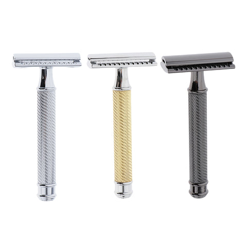 Classic Manual Safety Razors Double Edge Shaver for Men Daily Shaving Silver