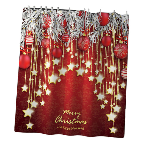 Christmas Decor Shower Curtain w/ Hooks for Bathroom Xmas Home Decoration B