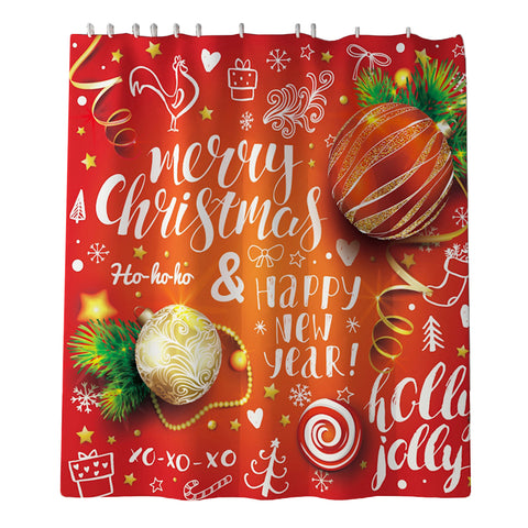 Christmas Decor Shower Curtain w/ Hooks for Bathroom Xmas Home Decoration A