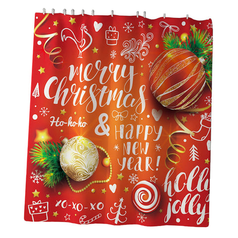 Image of Christmas Decor Shower Curtain w/ Hooks for Bathroom Xmas Home Decoration A