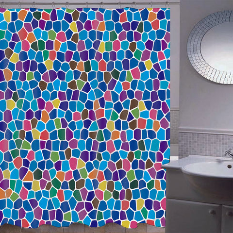 Mosaic Waterproof Bathroom Curtain with Hook Bath Curtain Blue Mosaic