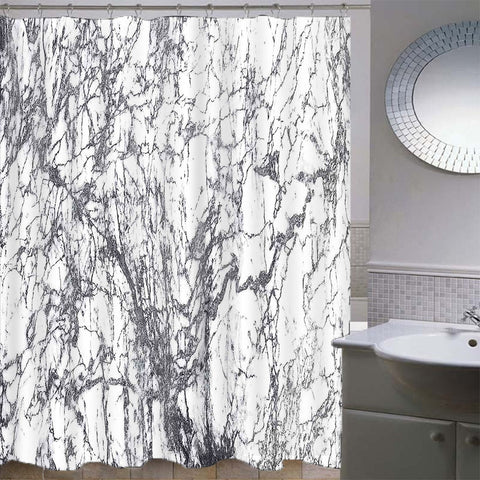 Image of Mosaic Waterproof Bathroom Curtain with Hook Bath Curtain Marble