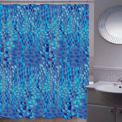 Image of Mosaic Waterproof Bathroom Curtain with Hook Bath Curtain Blue