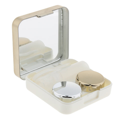 Mini Simple Contact Lens Travel Case Box Container With Mirror Golden
