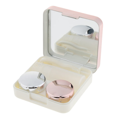 Mini Simple Contact Lens Travel Case Box Container With Mirror Rose Golden