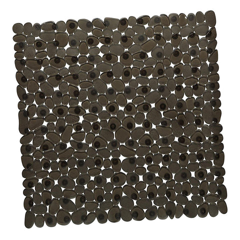 Image of Square Cobblestone Bath Tub and Shower Mat with Suction Cups Black