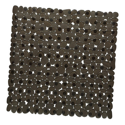 Square Cobblestone Bath Tub and Shower Mat with Suction Cups Black