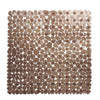 Square Cobblestone Bath Tub and Shower Mat with Suction Cups Brown