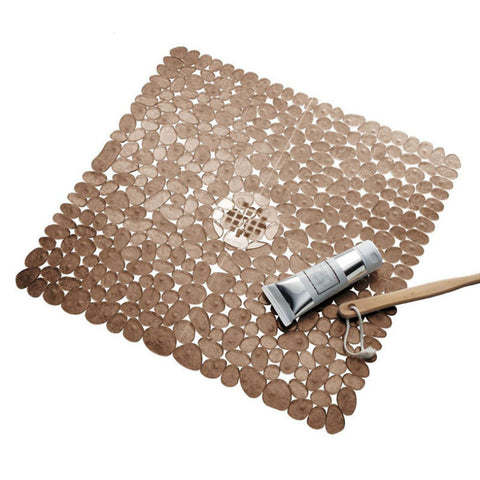 Image of Square Cobblestone Bath Tub and Shower Mat with Suction Cups Brown