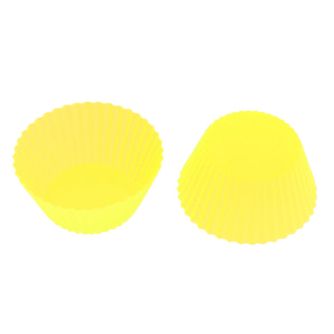 Image of Silicone Muffin Cup Round 7cm Cake Cup Small Cake Mould Yelllow