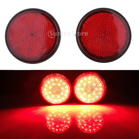 2 Pieces Round Reflectors Universal for Motorcycle ATV Dirt Bike Red