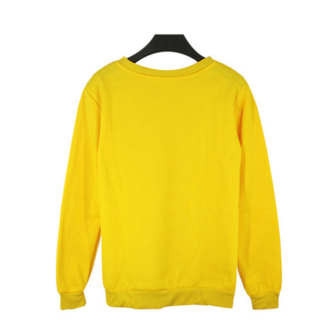 Image of Unisex Crewneck Fleece Sweatshirt Plain Pullover Crew Neck Jumper Yellow 4XL